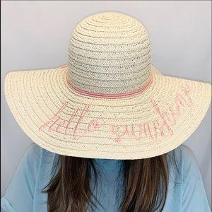 """Hello Sunshine"" Wide Brimmed Sun Hat NWOT"